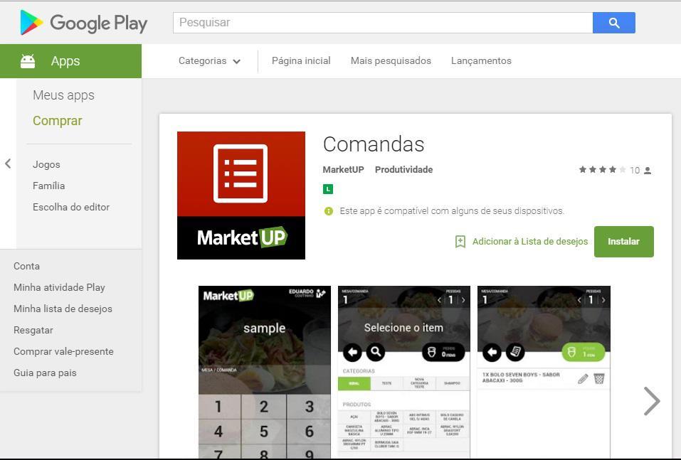 App Comanda MarketUP | Be Free Tecnologia